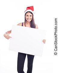Christmas blank sign woman
