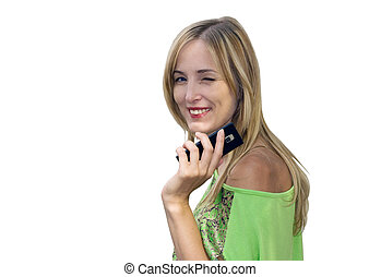 Young blonde woman winks with mobile phone in hand isolated on white background.