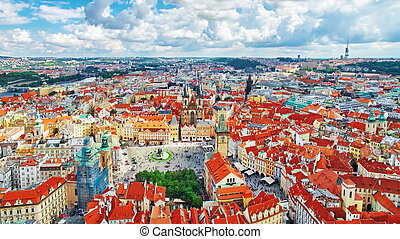 Area Old Town of Prague, over center of the city - Old Town...