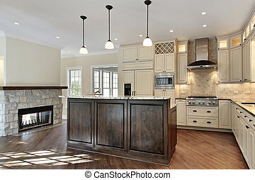 Kitchen with stone fireplace