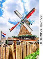prawdziwy, wiatraki, pracujący, przedmieścia, Amsterdam,...