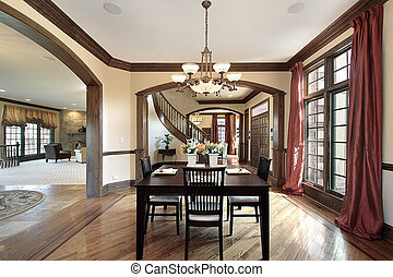 Dining room with foyer view - Dining room in luxury home...