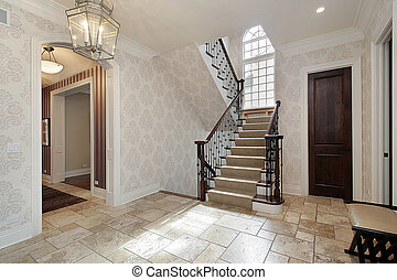 Foyer with second story window - Foyer in luxury home with...