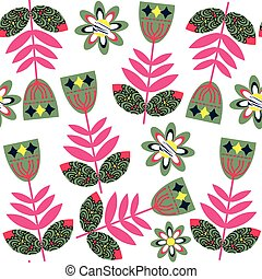 Abstract  floral vivid   seamless pattern and seamless pattern in swatch menu, vector image. Cute  editable  vector background  for design