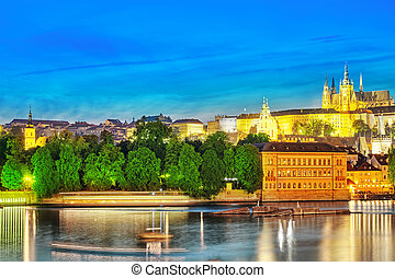 View of Prague Castle from the river Vltava