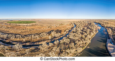 aerial view of eastern Colorado landscape with South Platte...