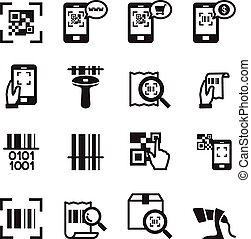 Check code , Barcode, QR code Reader Icons set Vector illustration