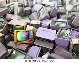 結束, 葡萄酒, 背景, 電視, 堆, 概念性, 電視