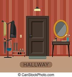 Hallway interior with door.