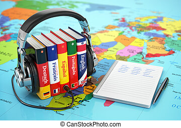 Learning languages online Audiobooks concept Books and...