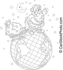 Santa with gifts on a globe