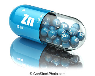 Pills with zinc Zn element Dietary supplements. Vitamin...