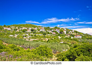 Mediterranean village on Island of Vis, Zena Glava, Croatia