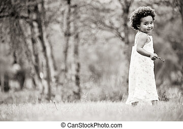 African girl in black and white - African young girl is...