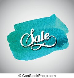 Sale label on the azure watercolor stain Promotional poster...