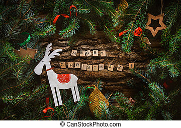 Merry Christmas. Christmas greeting card with rustic wood...