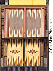 Backgammon - Carved wooden table for backgammon board game