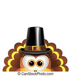 Cartoon turkey in a pilgrim hat. Card for Thanksgiving Day....