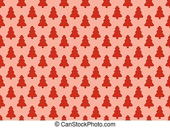 Pattern for wrapping paper Red Christmas tree on a pink...