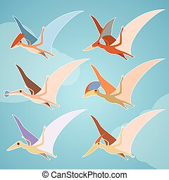 Set of pterosaurs - Vector image of a set of diffirent...