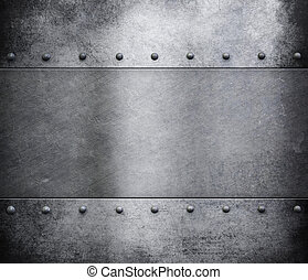 grunge metal background with rivets
