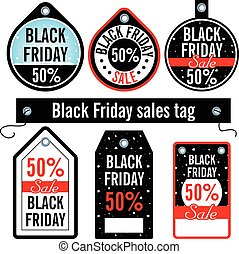 Vector illustration. Black Friday. Sales price tags on an isolat