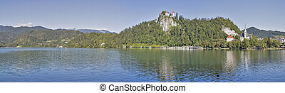 Medieval castle, St. Martins Parish Church and Bled Lake panorama