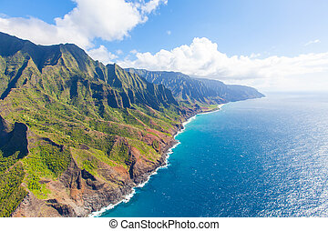 kauai from helicopter - view of beautiful na pali coast at...