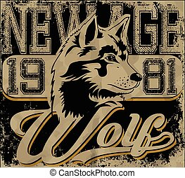 Retro wolf mascot athletic design complete with wolf  illustration, vintage athletic fonts