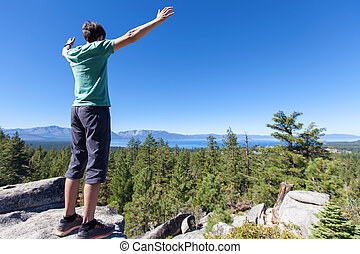 man hiking at tahoe