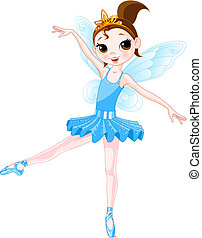 (Rainbow colors ballerinas series). Blue Ballerina