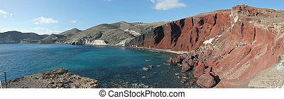red beach on santorini island in greece