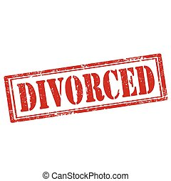 Divorced-stamp - Grunge rubber stamp with text...