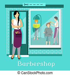 Barbershop Facade with Customers - Barbershop facade with...