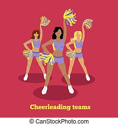 Cheerleading Team Concept Flat Design - Cheerleading team...