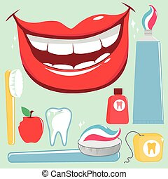 Dental hygiene vector set