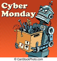 Robot Cyber Monday gadgets and electronics pop art retro...