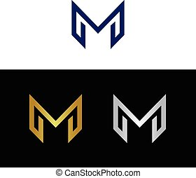 Geometric modern letter M in several color combinations
