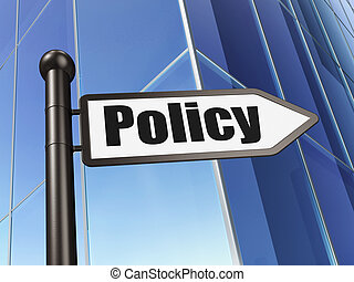 Insurance concept: sign Policy on Building background, 3d...