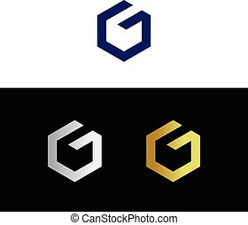 Abstract letter G - Abstract geometric letter G in several...