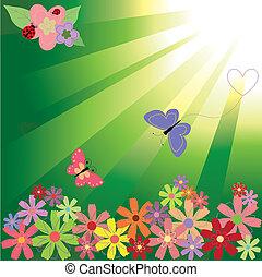 Springtime flowers & butterflies on green light background