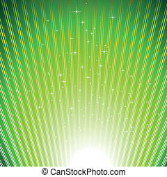 Sparkling stars on green light burst background