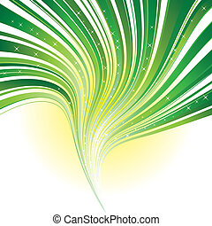 Abstract green stripe swirl background with stars