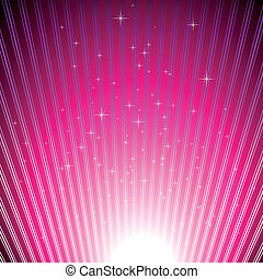 Sparkling stars on shiny magenta light burst