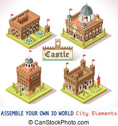 Castle 01 Tiles Isometric - Medieval Tiles for Online...