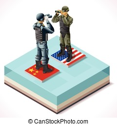 China Usa 01 Infographic Isometric - Isometric Militar...