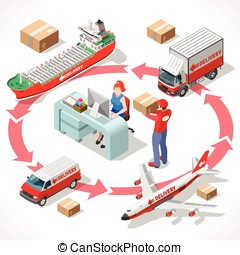 Delivery 02 Infographic Isometric - Worldwide Express...