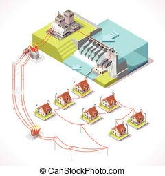 Energy 14 Infographic Isometric - Hydroelectric Power Plant...