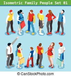 Family Set 01 People Isometric - Flat style family Set Young...