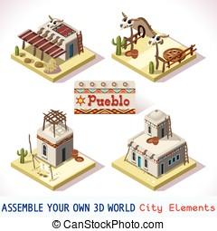 Pueblo Tiles 01 Set Isometric